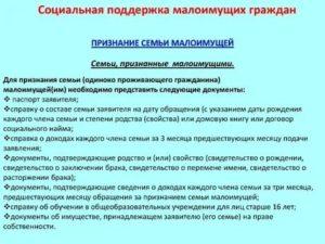Список документов для оформления статуса малоимущей семьи в перми 2020