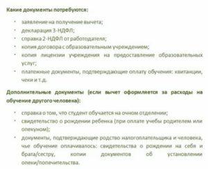 Список Документов На Возмещение Ндфл На Обучение Ребенка