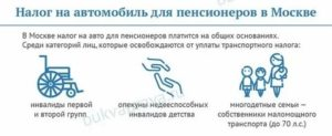 Налог на машину для пенсионеров в москве