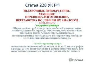 Статья 228 расшифровка частей статьи и сроки