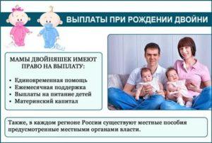 Рождение двойняшек в 2020 году вторые роды какие выплаты положены