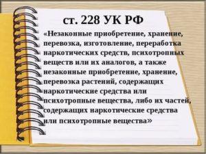 Какой срок за 228 статью